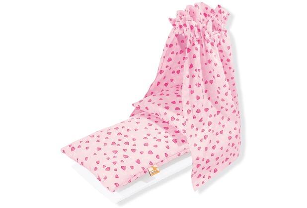 Pinolino Puppenbettzeug für Puppenwiegen mit Himmel \'Herzchen\', rosa, 4-tlg.