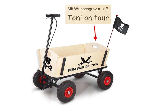 Pinolino Bollerwagen 'Pirat Jack' mit Bremse MIT GRAVUR (z.B. Namen)