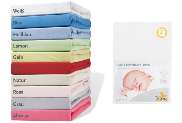 Pinolino Spannbetttücher für Kinderbetten im Doppelpack, Jersey, weiß