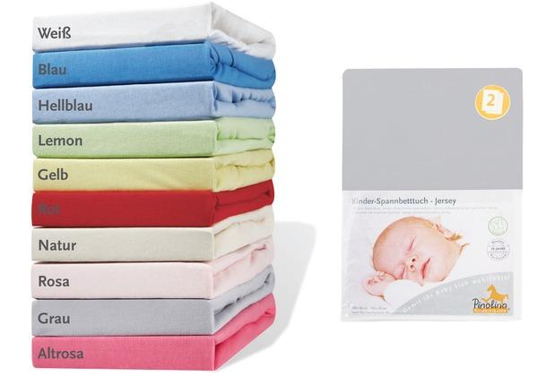 Pinolino Spannbetttücher für Kinderbetten im Doppelpack, Jersey, grau