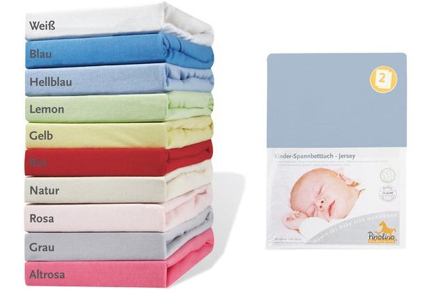 Pinolino Spannbetttücher für Kinderbetten im Doppelpack, Jersey, hellblau
