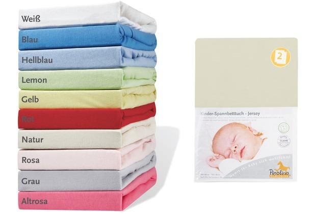 Pinolino Spannbetttücher für Kinderbetten im Doppelpack, Jersey, natur