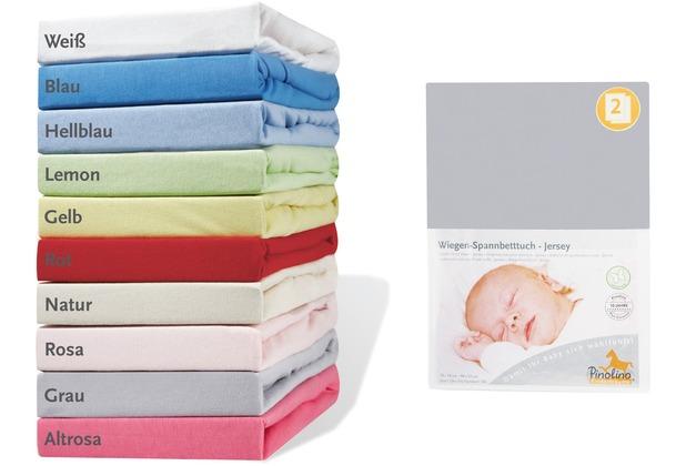 Pinolino Spannbetttücher für Wiegen, Anstellbettchen und Kinderwagen im Doppelpack, Jersey, grau