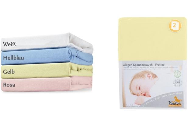 Pinolino Spannbetttücher für Wiegen, Anstellbettchen und Kinderwagen im Doppelpack, Frottee, gelb