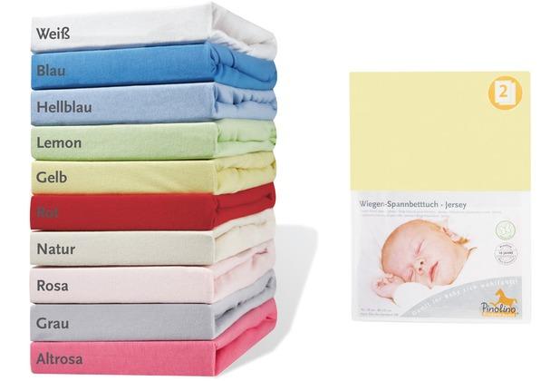 Pinolino Spannbetttücher für Wiegen, Anstellbettchen und Kinderwagen im Doppelpack, Jersey, gelb