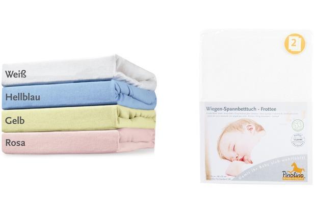Pinolino Spannbetttücher für Wiegen, Anstellbettchen und Kinderwagen im Doppelpack, Frottee, weiß