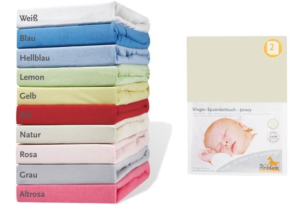 Pinolino Spannbetttücher für Wiegen und Anstellbettchen im Doppelpack, Jersey, natur