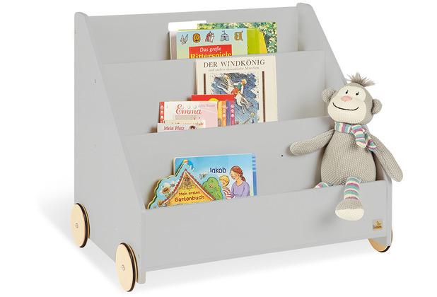 Pinolino Kinder-Bücherregal mit Rollen \'Lasse\', grau
