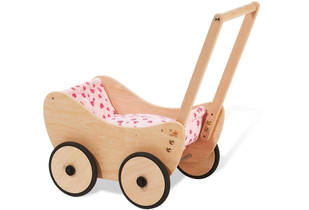 Pinolino Puppenwagen \'Trixi\', inkl. Bettzeug Dessin \'Herzchen\', rosa