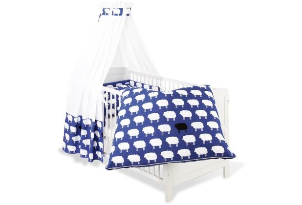Pinolino Textile Ausstattung für Kinderbetten \'Happy Sheep\', blau, 4-tlg.