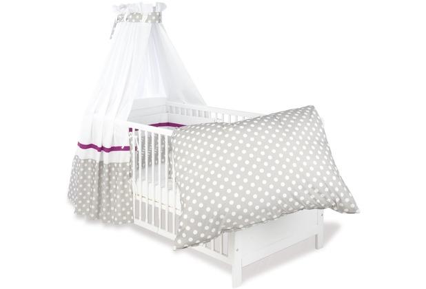 Pinolino Textile Ausstattung für Kinderbetten \'Punkte\', grau, 4-tlg.