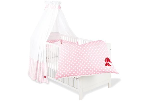 Pinolino Textile Ausstattung für Kinderbetten \'Glückspilz\', rosa, 4-tlg.