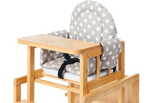 Pinolino Sitzverkleinerer für Kombi-Hochstühle \'Punkte\', Stoff, grau