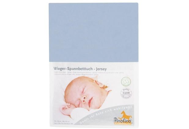 Pinolino Spannbetttuch für Wiegen und Anstellbettchen, Jersey, hellblau
