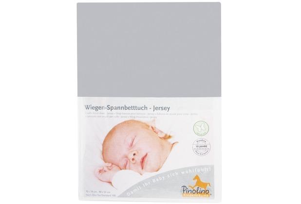 Pinolino Spannbetttuch für Wiegen und Anstellbettchen, Jersey, grau