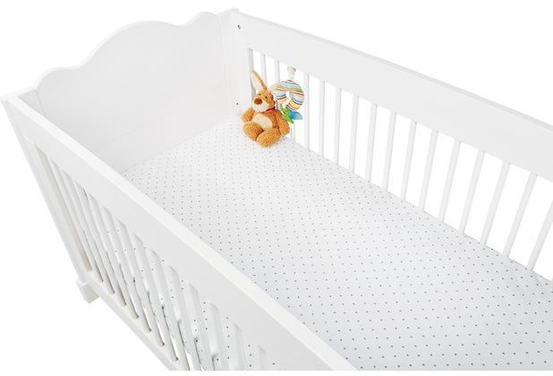 Pinolino Spannbetttücher für Kinderbetten im Doppelpack \'Sternchen\', Jersey, grau und Uni, weiß