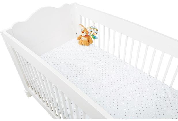Pinolino Spannbetttücher für Kinderbetten im Doppelpack \'Sternchen\', Jersey, rosa und Uni, weiß