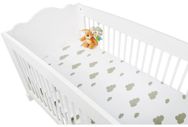 Pinolino Spannbetttücher für Kinderbetten im Doppelpack  \'Wölkchen\', Jersey, grau und Uni, weiß