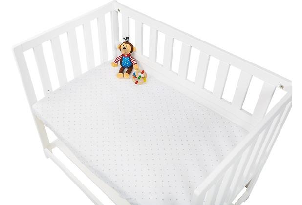 Pinolino Spannbetttücher für Wiegen, Anstellbettchen und Kinderwagen im Doppelpack \'Sternchen\', Jersey, hellblau und Uni, weiß