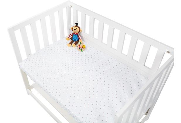 Pinolino Spannbetttücher für Wiegen, Anstellbettchen und Kinderwagen im Doppelpack  \'Sternchen\', Jersey, rosa und Uni, weiß