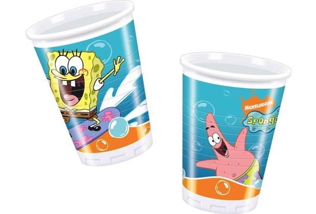 """PROCOS Plastikbecher mit Motiv \""""Spongebob Surfing\"""", 10 Stück 200 ml"""