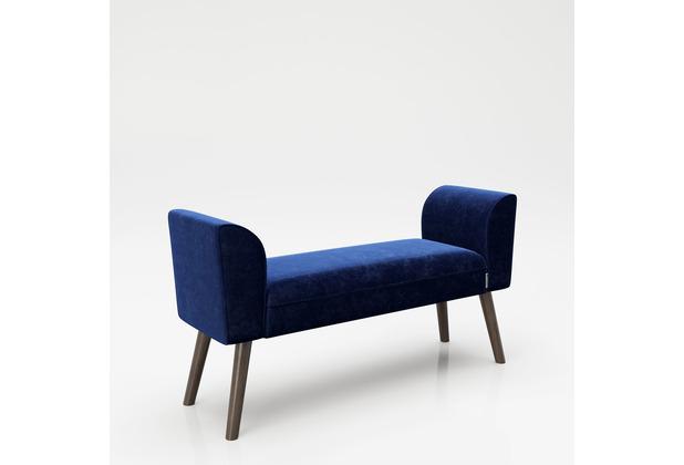 """PLAYBOY Sitzbank \""""TIFFANY\"""" blau 100 cm, Retrobank mit Massivholzfüßen"""