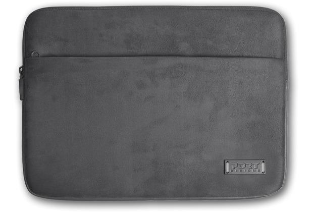 PORT Designs Milano Sleeve für Notebooks 13/14 Zoll, aus Velour / Neopren mit Zubehörfach, grau