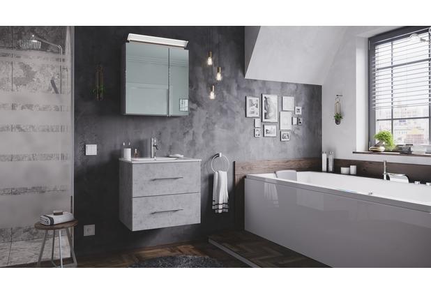 Posseik Badmöbel-Set Homeline 60 (2-teilig) beton inkl. Spiegelschrank mit Design LED-Lampe