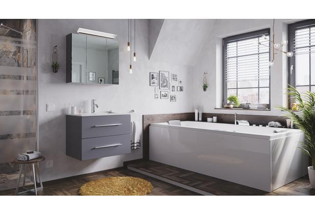 Posseik Badmöbel-Set Homeline 70 (2-teilig) anthrazit seidenglanz inkl. Spiegelschrank mit Design LED-Lampe