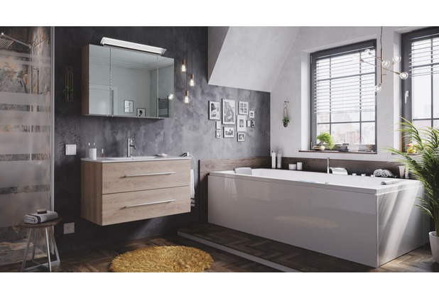 Posseik Badmöbel-Set Homeline 90 (2-teilig) eiche hell inkl. Spiegelschrank mit Design LED-Lampe