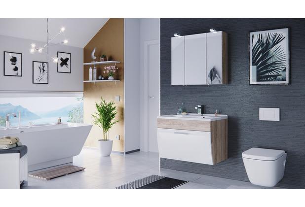 Posseik Badmöbel-Set Salona Sonoma-Weiß 3-teilig EEK: A+