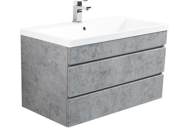 Posseik Badmöbel Felini 90 beton mit grifflosen Schubladen