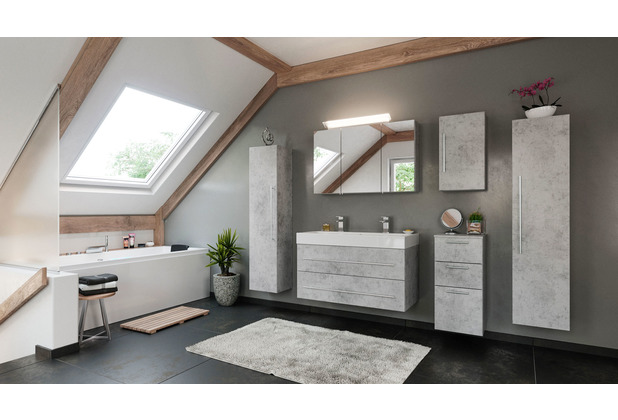 Posseik Doppelbadmöbel-Set LIVONO 100 cm (6-teilig) Beton