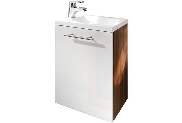 Posseik Handwaschplatz Alexo walnuss-weiss, wandmontage