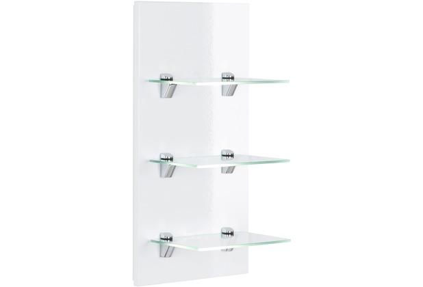 Posseik Panel VIVA mit 3 Glasablagen weiß hochglanz