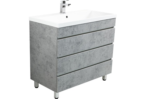 Posseik Stand Badmöbel Felini 90 beton mit drei grifflosen Schubladen