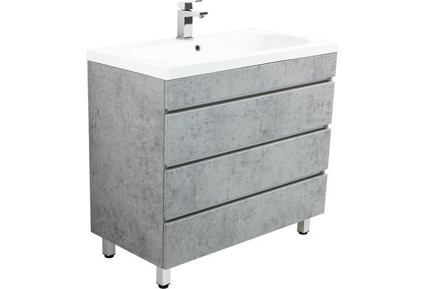 Posseik Stand Badmöbel Kali 90 beton mit grifflosen Schubladen
