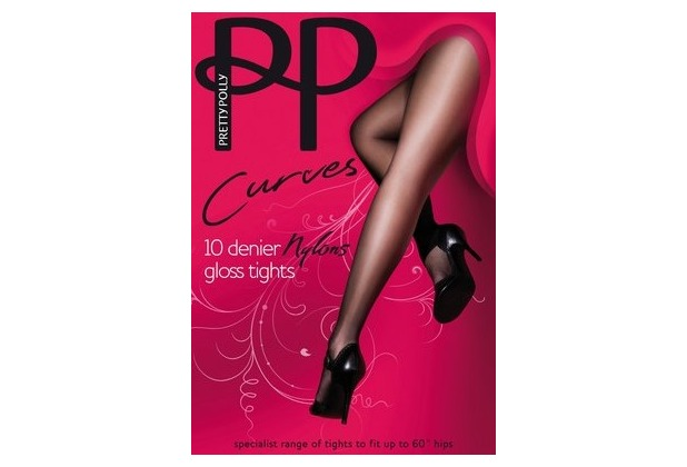 Pretty Polly Curves 10D Nylons Gloss Tights Black XXL
