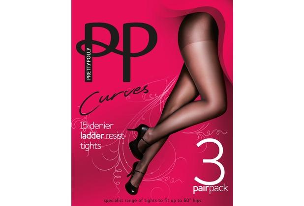 Pretty Polly Curves 15D Ladder Resist Tights - 3 Paar Barely Black XXL