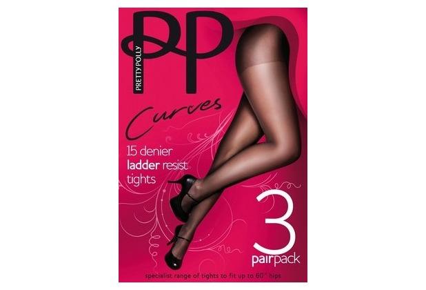 Pretty Polly Curves 15D Ladder Resist Tights 3 Paar BarelyBlack XL