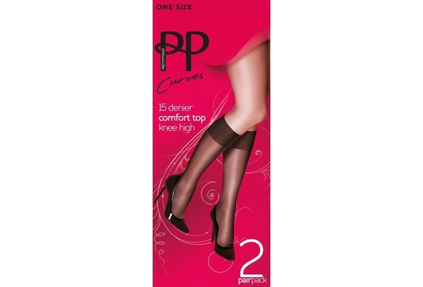 Pretty Polly Curves 15D Comfort Top Knee Highs - 2 Paar Nude OS