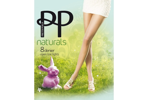 Pretty Polly Naturals 8D Open Toe Tights Slightly Sunkissed SM