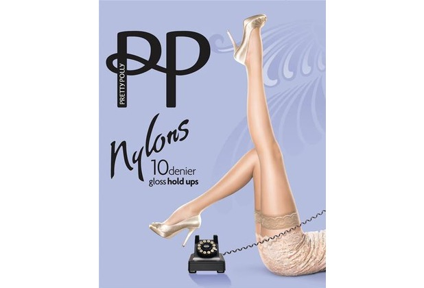 Pretty Polly Nylons 10D Lace Top Hold Ups Barely Black ML