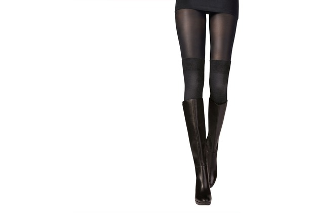 Pretty Polly Secret Socks Modal OTK Sock Tights Black M/L