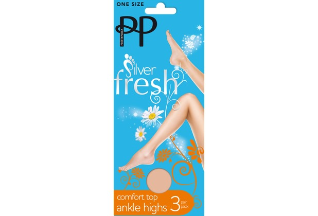 Pretty Polly Silver Fresh Comfort Top Ankle Highs - 3 Paar Nude One Size