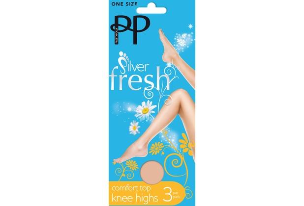 Pretty Polly Legworks Comfort Top Fresh Knee Highs - 3 Paar Barely Black OS