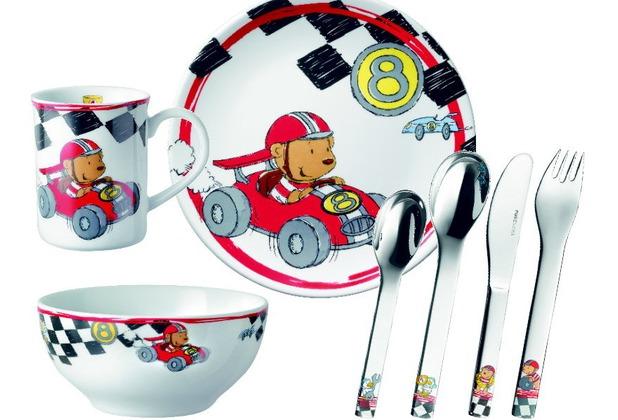 PURESIGNS QUICK Rennfahrer Kinderset 7tlg. Auto (Kinderbesteck + Kindergeschirr)