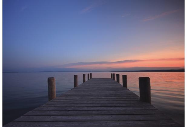 Rasch Fototapete Steg, Abendsonne