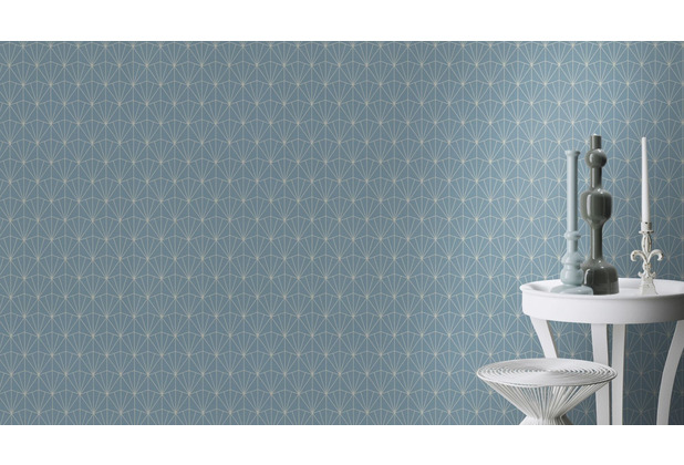 Rasch Tapete Modern Art 434057 Creme, Blau 0.53 x 10.05 m