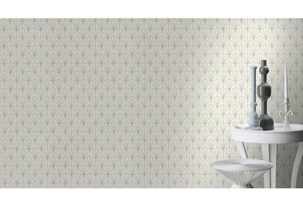 Rasch Tapete Modern Art 434064 Silber, Creme 0.53 x 10.05 m